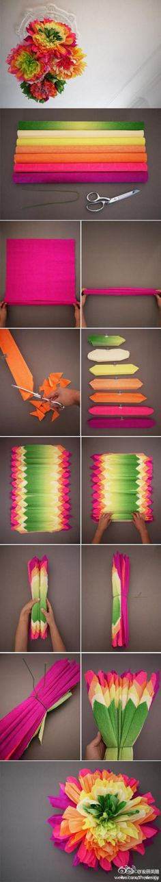Multi-colored paper pom-pom flowers