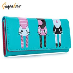 Cheap wallet stand, Buy Quality wallet keychain directly from China wallet purse Suppliers: Guapabien New 2016 Women Cute Cat Cartoon Wallet Long Creative Card Holder Casual Ladies Clutch PU Leather Coin Purse