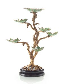 """Limited Production Design: 24"""" Tall Brass Bonsai Grape Vine Candle Holder  * Click Image For Full Screen View"""