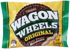 Arnott's Wagon Wheel 16 x On-the-go anytime, and anywhere A wonderful choc-coated combination of Marshmallow, Jam and Biscuit. Made in Australia Snack Recipes, Snacks, Golden Syrup, Tree Nuts, Wagon Wheel, Ben And Jerrys Ice Cream, Marshmallow, Pop Tarts, Chocolates