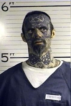 The bowtie pulls the ensemble together. Full Facial Tats for Booking Photo.Latest thing I guess? Strange world! Funny Mugshots, Terrible Tattoos, Tattoo Fails, Bad Tattoos, Facial Tattoos, Wtf Moments, Body Modifications, Unique Image, Mug Shots