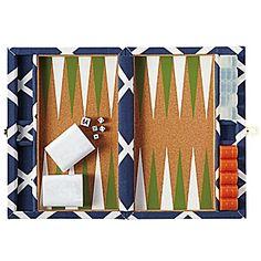 Diamond Backgammon Set – Navy | Serena & Lily, $198