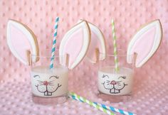 Bunny Cookies and Milk. Great idea for the kids to make for the Easter bunny the night before!