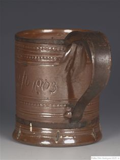 Named and Dated Nottingham Stoneware Mug, Repaired. But such an elegant repair. Types Of Ceramics, Stoneware Mugs, Nottingham, Ancient Art, Polka Dots, British, Pottery, Vase, Elegant