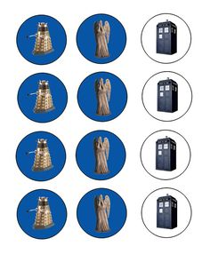Simple Doctor Who Party!  Freebie printables for doctor who cupcake toppers!  Dalek, weeping angel and the Tardis!
