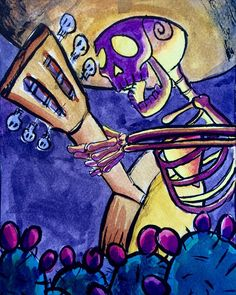 I painted this little watercolor sketch of skeleton playing the guitar this morning!  I like this perspective.  #mariachi #skeleton #watercolor #mailart #Danielsartwork #diadelosmuertos #dayofthedead #guitar #musician #DanielGonzalez #cactus #mexican #sombrero #acoustic