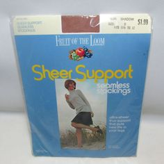 Vtg Fruit Of the Loom Sheer Support Seamless Stockings Size D 11.5-12 Shadow New #FruitOfTheLoom