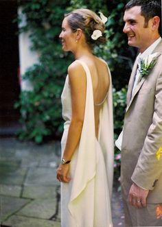 Kate Angus wearing bespoke wedding gown by Circa Vintage Brides