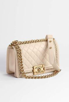 Small BOY CHANEL handbag, lambskin & gold-tone metal-beige - CHANEL