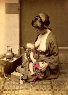 Japanese woman breatfeeding, ca. 1890