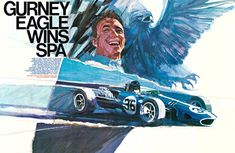 Gurney Eagle Win Spa, George Bartell; original racing poster.
