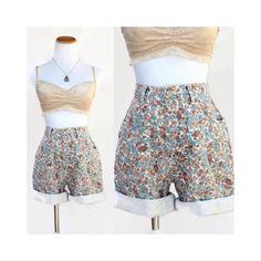 High Waisted Shorts Floral Vintage 90's Grunge Denim Jean Shorts High Waist Boho Flowers Summer Festival Hipster Boho Size Small Medium