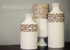 lace stenciled vases.