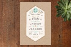 Bold/Typographic, Classical, Hand Drawn, Non-Photo, Rustic, Simple, Vintage Wedding Invitations + Free Guest Addressing | Minted