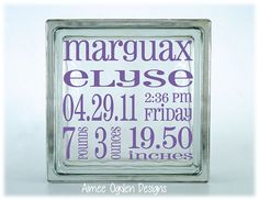 Baby Announcement Glass Block Decal Sticker by AimeeOgdenDesigns