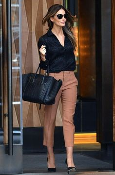 Office Style Black Blouse Plus Camel Trousers
