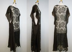 1920s brown lace dress