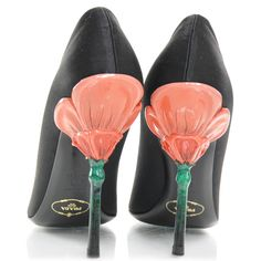 Fashionphile - PRADA Satin Flower Heel Pumps 37.5 Black NEW