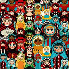 Matryoshka Doll Art Print Russian Nesting Dolls- Matriochka-Babushka www. Backgrounds Wallpapers, Russian Folk Art, Russian Style, Matryoshka Doll, Kokeshi Dolls, Illustrations, Bunt, Paper Art, Art Projects