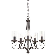 Kichler Lighting Diana 25-in 5-Light Olde Bronze Clear Glass Chandelier