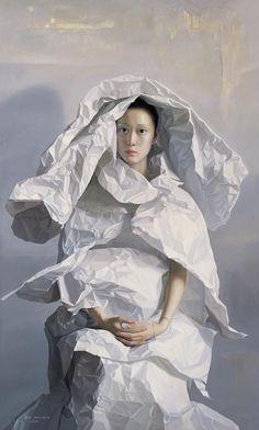 Classical realism: Zeng Chuanxing's paper brides portraits of 'minority' women. Zeng was born in Sichuan province, China. Figure Painting, Painting & Drawing, Art Chinois, Art Gallery, Classical Realism, Art Japonais, Foto Art, Surreal Art, Portrait Art