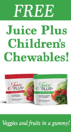 You've tried every one of the kids veggies available, and you can't find any creative ideas from your easy dinner recipes. What now? Stop by learn how to get free Juice Plus Children's Chewables! (They're veggies and fruits in a gummy. My nephews love them and beg for more!)