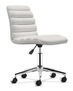 Decorate an office or home office with a modern desk & modern desk chair from Zinc Door. Find contemporary desks & desk chairs in black, white, red & chrome. Used Office Chairs, Black Office Chair, Swivel Office Chair, White Leather Office Chair, Black Desk, Contemporary Office Chairs, Modern Chairs, Modern Armchair, Modern Contemporary