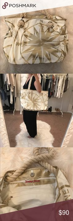Donna Dixon Compass Rope Beach Tote Donna Dixon Rope Beach Tote.  Gorgeous ivory color with gold compass print.  Inside pockets for phone and an inside zipper pocket. Donna Dixon Bags Totes