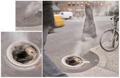 Saatchi & Saatchi's ingenious conversion of manhole covers into ads for Folgers coffee.