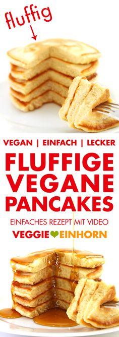 Fluffige VEGANE PANCAKES   Leckeres Rezept für vegane Pfannkuchen zum Frühstück   Dinkelpfannkuchen mit Dinkelmehl und Apfelmus   ohne Ei, ohne Milch und ohne Banane   Beste vegane Pancakes für Kinder   Einfaches Rezept mit VIDEO #VeggieEinhorn