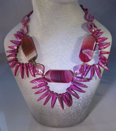 Magnificent Magenta Bib Necklace Set by blingbychristine on Etsy