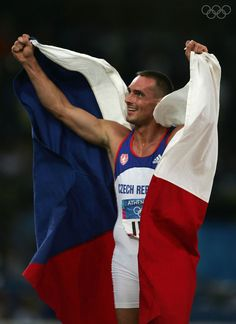 ATHENS - AUGUST 24: Roman Sebrle of Czech Republic celebrates after the 1,500 metre discipline of the men's decathlon on August 24, 2004 during the Athens 2004 Summer Olympic Games at the Olympic Stadium in the Sports Complex in Athens, Greece. Sebrle won gold in the decathlon. (Photo by Clive Brunskill/Getty Images)