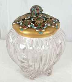 . Footed Pattern Glass Humidor with Metal Champaleve lid