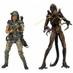 Aliens 7 Inch Action Figure 2 Pack Hudson Vs Brown Warrior dochsa.com #AlienToys #AlienActionFigures #Neca
