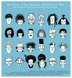 50 Years of the Beatles. 50 Years of Hair. Illustration by John Martz / The Globe and Mail