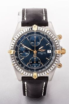Gents GP S/S Breitling Chronomat watch, round blue date dial with black leather strap Breitling Chronomat, Vintage Watches For Men, Gents Watches, Wedding Summer, Dublin Ireland, Watch Brands, Luxury Jewelry, Summer Outfit, Fathers Day Gifts