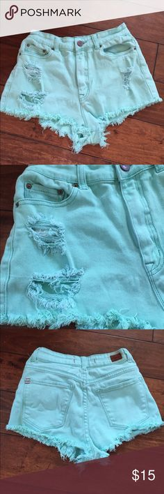 BDG High Rise Cheeky Jean Shorts! Size 27 High Rise Cheeky Shorts in great used condition! These are perfect for spring and summer! They're a bright pretty mint green color with distressing throughout and a high waist fit. BDG Shorts Jean Shorts