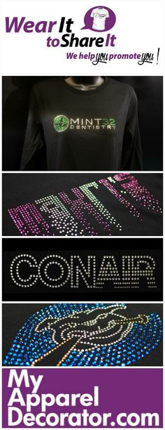 """Do you have a business?  Are you part of sports team?  Do you have school spirit?  Do you """"Wear it to Share it""""? Brand yourself.  Promote your business, team or school with custom rhinestone apparel.   FREE Estimate at: www.MyApparelDecorator.com"""