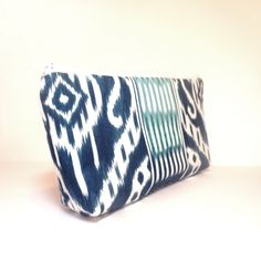 Large Fabric Zipper Pouch Cosmetic Pouch Penci Case Blue Ikat. $14.50, via Etsy.