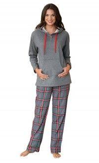 Gray Plaid Hooded Women's Pajamas