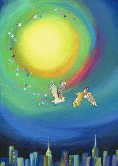 Print of Owl City by edieart on Etsy Kids Room Art, Art Kids, Art Painting Gallery, Music Of The Night, Channel Art, Good Night Moon, Owl City, Nursery Decor, Nursery Ideas