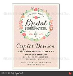 Shabby Chic Floral Wreath Invitation  by PinkPaperTrail on Etsy, $15.00