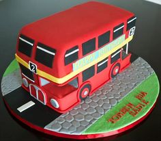 for McKenna Bus Cake, Truck Cakes, Big Red Bus, Second Birthday Ideas, London Cake, 3rd Birthday Cakes, Wheels On The Bus, London Bus, Novelty Cakes