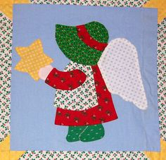 Sunbonnet Sue as an angel. She has been depicted doing many tasks, from household chores to playing with her friends. But in m...