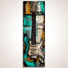 Guitar Art Music Artwork Guitar painting Original Turquoise guitar painting on canvas