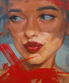 Original Portrait Painting by Anna Tivik Kiss Painting, Acrylic Material, Red Lipsticks, Saatchi Art, Contemporary Art, Original Paintings, Artist, Color, Canvas Size
