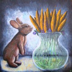 tableau peinture jonquille fleur vase surréaliste - jonquilles