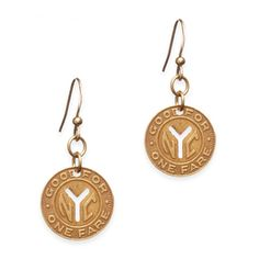 Sally Y Earrings Ride Sally Ride features authentic vintage subway tokens dangling from French hook wires. A little bit retro, a little bit downtown chic, there is no need for a metro card when you're wearing these!