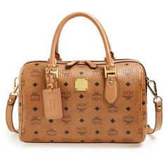 Women's MCM 'Heritage Boston' Coated Canvas Satchel ($865) ❤ liked on Polyvore featuring bags, handbags, mcm, purses, satchel hand bags, satchel purse, mcm bags and hardware bag