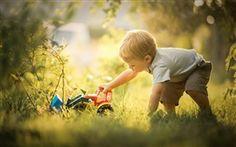 Boy play toy, bulldozer
